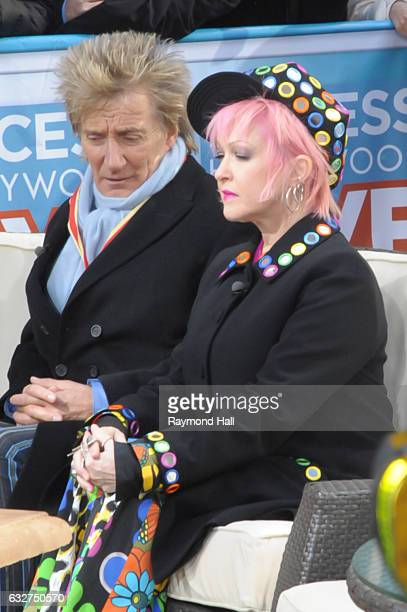 Singer Rod Stewart and Cyndi Lauper are seen outside The Today Show on January 25 2017 in New York City