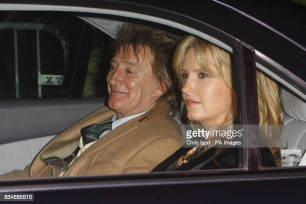 Singer Rod Stewart and his wife Penny Lancaster arrive at Prince Charles's Highgrove home near Tetbury Gloucestershire where Prince Charles will be...