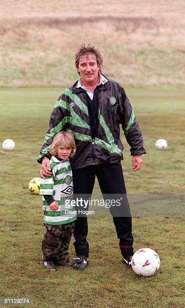 Singer Rod Stewart and son Liam play football at his house in Essex on the day Rod split from model wife Rachel Hunter