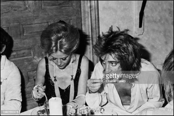 Singer Rod Stewart and Swedish actress Britt Ekland at a reception for Stewarts single 'Tonight's' The Night London 1977
