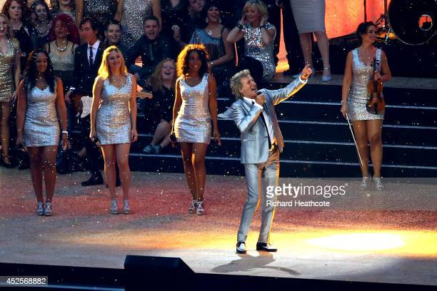 Singer Rod Stewart performs during the Opening Ceremony for the Glasgow 2014 Commonwealth Games at Celtic Park on July 23 2014 in Glasgow Scotland
