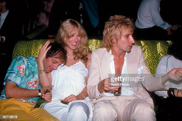 Singer Rod Stewart with Steve Rubell and Alana Hamilton at Studio 54