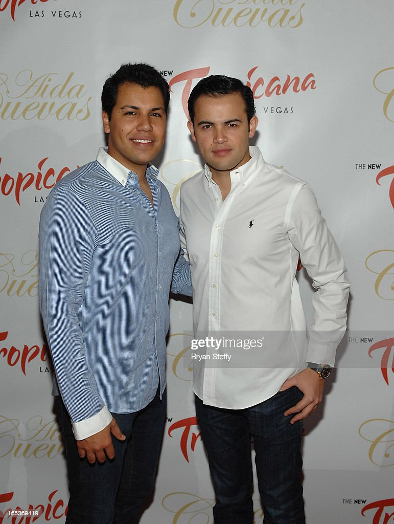 Singer Rodrigo Cuevas (L) and singer Diego Cuevas attend a press conference announcing Aida Cuevas's Cinco de Mayo performance at the Tropicana Theater at the New Tropicana Las Vegas on April 3, 2013 in Las Vegas, Nevada.