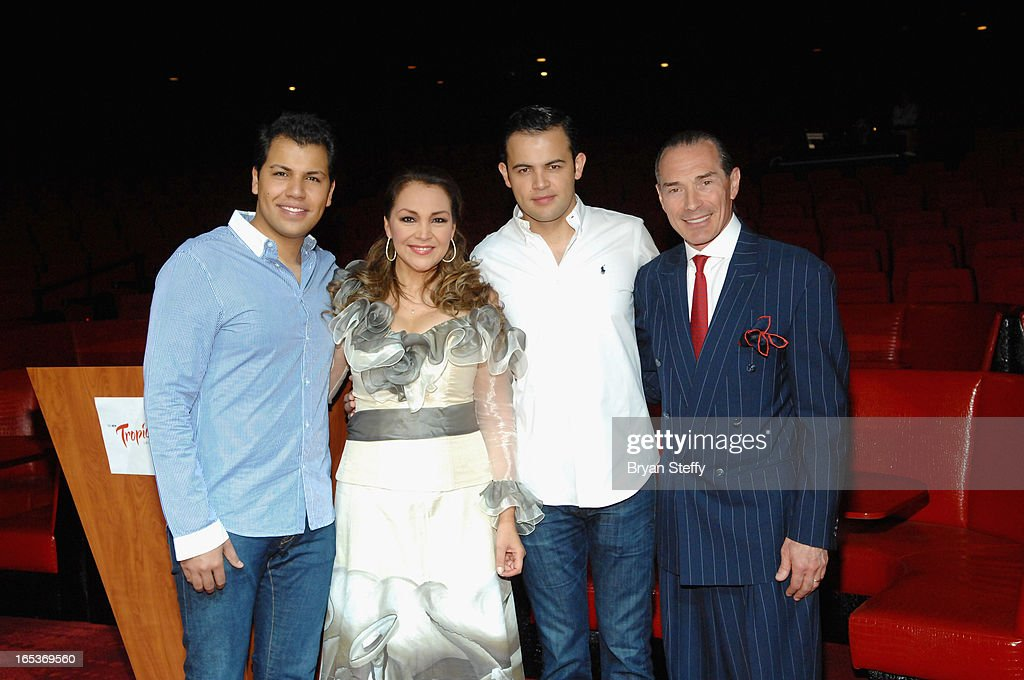 Singer Rodrigo Cuevas, Latin Grammy Award-winning Mexican singer Aida Cuevas, singer Diego Cuevas and the New Tropicana Las Vegas Chairman and CEO Alex Yemenidjian attend a press conference announcing Aida Cuevas's Cinco de Mayo performance at the Tropicana Theater at the New Tropicana on April 3, 2013 in Las Vegas, Nevada.