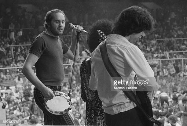 Singer Roger Chapman and guitarist Charlie Whitney performing with British rock group Streetwalkers at Charlton Athletic's football ground The Valley...
