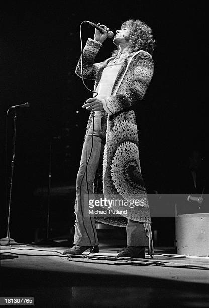 Singer Roger Daltrey performing in the stage version of the Who's rock opera 'Tommy' at the Rainbow Theatre London 9th December 1972