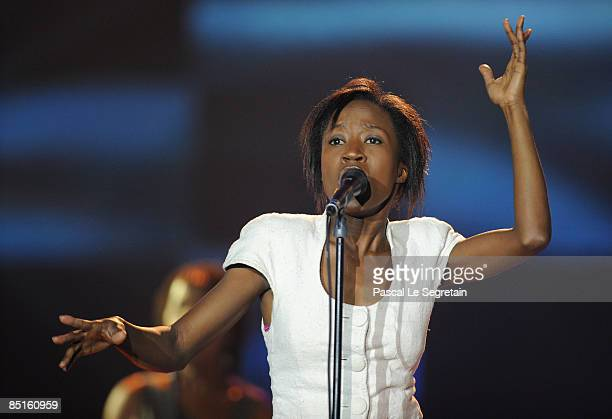 Singer Rokia Traore perform on stage during the 'Les Victoires de la Musique' at the Le Zenith on February 28 2009 in Paris France