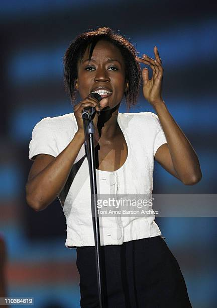Singer Rokia Traore performs on stage during the Les Victoires de la Musique at the Le Zenith on February 28 2009 in Paris France