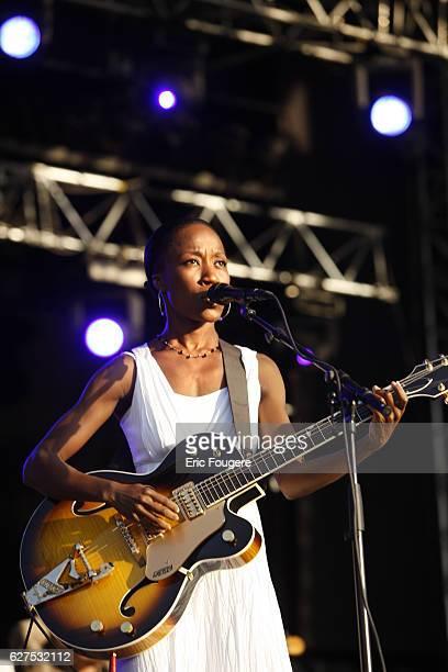 Singer Rokia Traore performs on stage during the 'Musik'Elles' Festival in Meaux