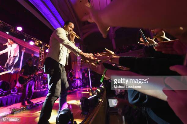 Singer Romeo Santos performs onstage during TIDAL X Sprint presents Romeo Santos NYC PopUp Concert at the Morris Academy Auditorium on February 17...
