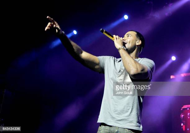 Singer Romeo Santos performs onstage during TIDAL X Sprint presents Romeo Santos Los Angeles PopUp Concert at Ace Theater Downtown LA on February 18...