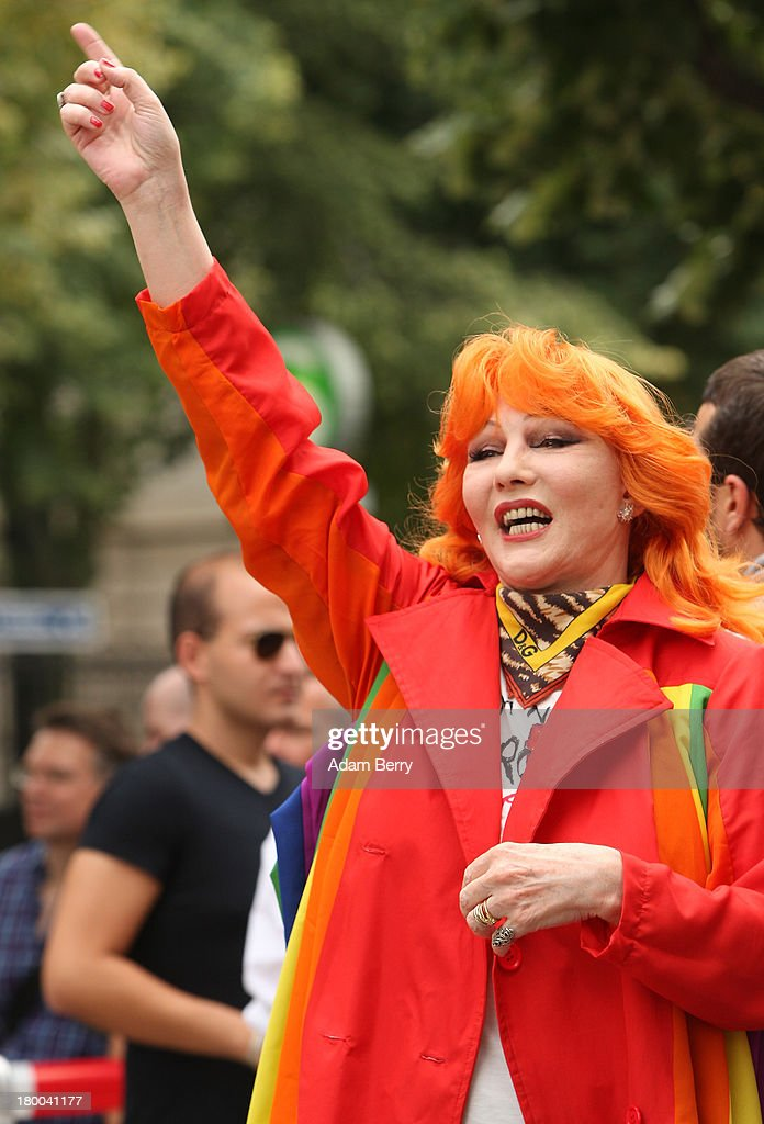 Singer Romy Haag attends the 'To Russia With Love' Global Kiss-In in front of the Russian Embassy on September 8, 2013 in Berlin, Germany. The event was designed to show international solidarity with homosexuals in Russia, currently under pressure from with what is considered by some in societies with more liberal gay rights policies to be homophobic legislation.