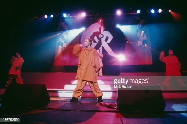 Singer Ronan Keating performing with Irish boy band Boyzone at the Hammersmith Apollo London 1995