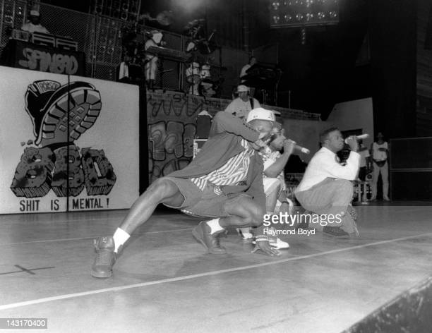 Singers Ronnie DeVoe Michael Bivins and Ricky Bell of Bell Biv DeVoe performs at the UIC Pavilion in Chicago Illinois in AUGUST 1991