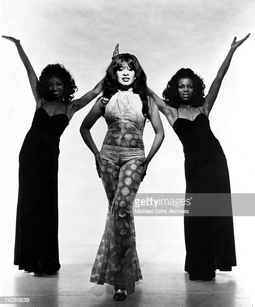 Singer Ronnie Spector of the vocal trio 'Ronettes' poses for a portrait with replacement singers in circa 1972