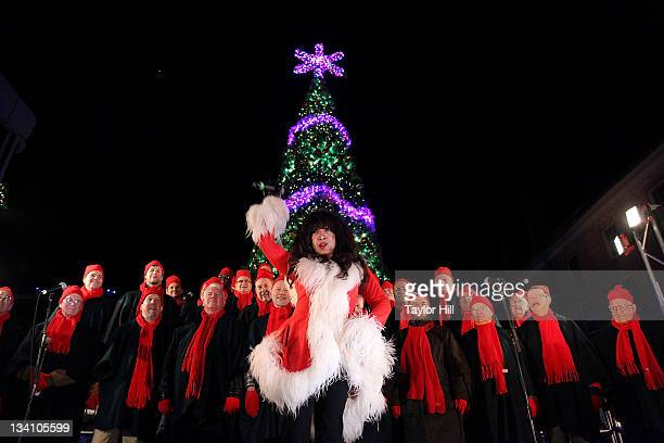 Singer Ronnie Spector performs during the 28th Annual Seaport Chorus Tree Lighting spectacular at the South Street Seaport on November 25 2011 in New...