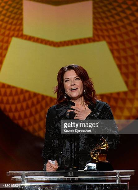 Singer Rosanne Cash speaks onstage during the The 57th Annual GRAMMY Awards Premiere Ceremony at Nokia Theatre LA Live on February 8 2015 in Los...