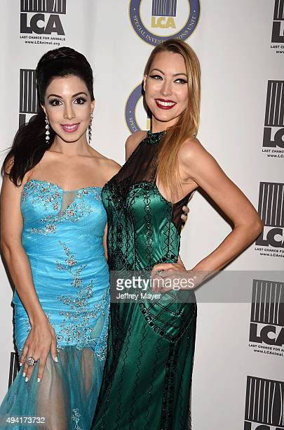 Singer Roxy Darr and actress Angela Daun attend the Last Chance for Animals Benefit Gala at The Beverly Hilton Hotel on October 24 2015 in Beverly...