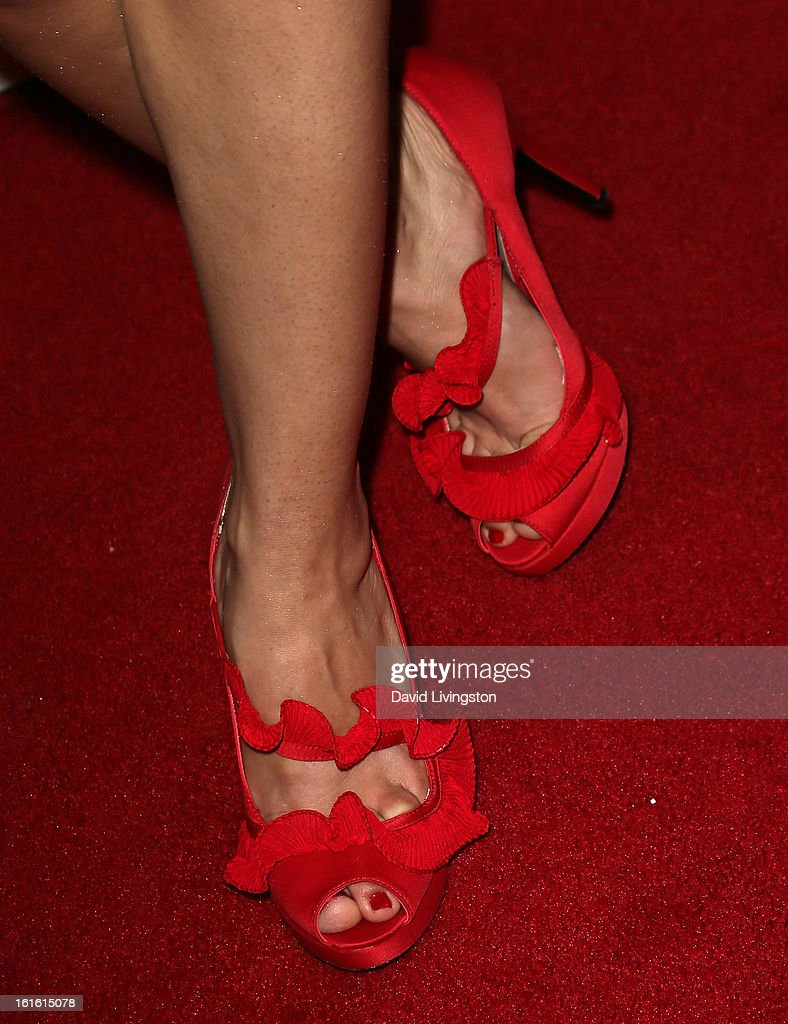 Singer Roxy Darr (shoe detail) attends the opening night of 'Jekyll & Hyde' at the Pantages Theatre on February 12, 2013 in Hollywood, California.