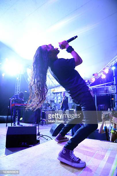 Singer Ruben Albarran of Cafe Tacuba performs at the NPR 2013 SXSW Music Film Interactive Festival held at Stubbs Ampitheatre on March 13 2013 in...