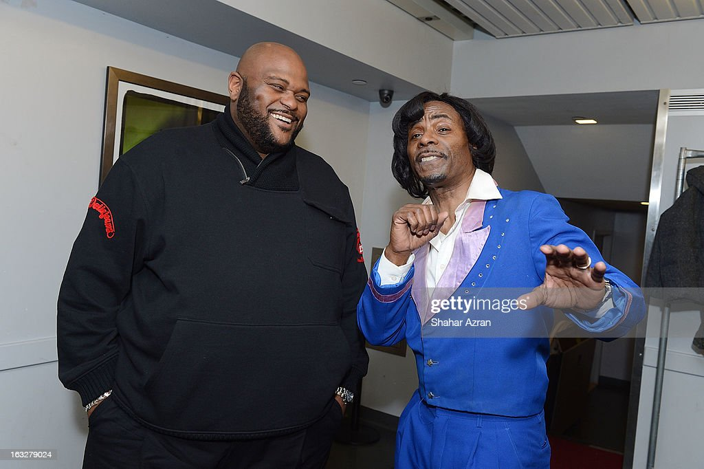 Singer Ruben Studdard with C.P. Lacey posing as James Brown backstage at Amateur Night at The Apollo Theater on March 6, 2013 in New York City.