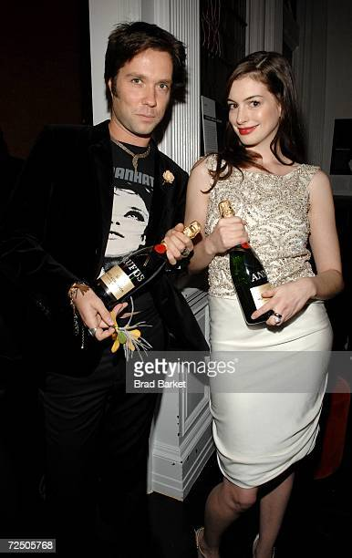 Singer Rufus Wainwright and Anne Hathaway attend Out Magazine's Out 100 Awards party sponsored by Moet Hennessey at Capitale on November 10 2006 in...
