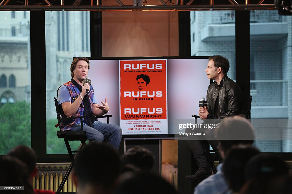 Singer <a gi-track='captionPersonalityLinkClicked' href=/galleries/search?phrase=Rufus+Wainwright&family=editorial&specificpeople=206122 ng-click='$event.stopPropagation()'>Rufus Wainwright</a> (L) discusses the 10th Anniversary of 'Rufus Does Judy at Carnegie Hall' at AOL Studios in New York on May 24, 2016 in New York City.