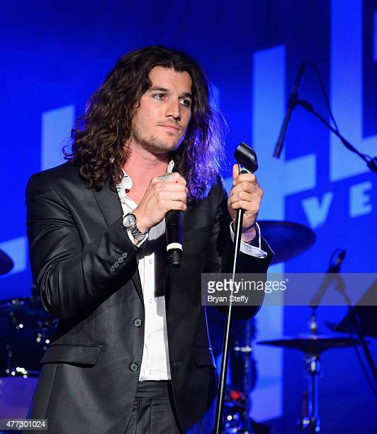 Singer Rustin Sailors performs during Mondays Dark benefiting Orion Cancer Foundation at Vinyl inside the Hard Rock Hotel Casino on June 15 2015 in...