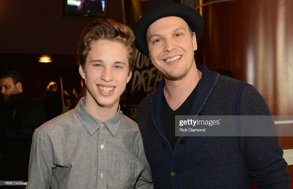 Singer Ryan Beatty (L) and singer/songwriter Gavin DeGraw pose backstage at the GRAMMYs Dial Global Radio Remotes during The 55th Annual GRAMMY Awards at the STAPLES Center on February 7, 2013 in Los Angeles, California.