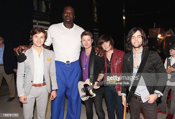 Singer Ryan Follese host Shaquille O'Neal and musicians Nash Overstreet Jamie Follese and Ian Keaggy of Hot Chelle Rae attend the 2012 Cartoon...