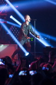 Singer Ryan Tedder of OneRepublic performs live during a concert at the Columbiahalle on February 28 2014 in Berlin Germany