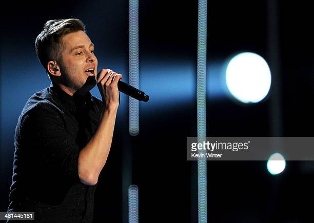 Singer Ryan Tedder of OneRepublic performs onstage at The 40th Annual People's Choice Awards at Nokia Theatre LA Live on January 8 2014 in Los...