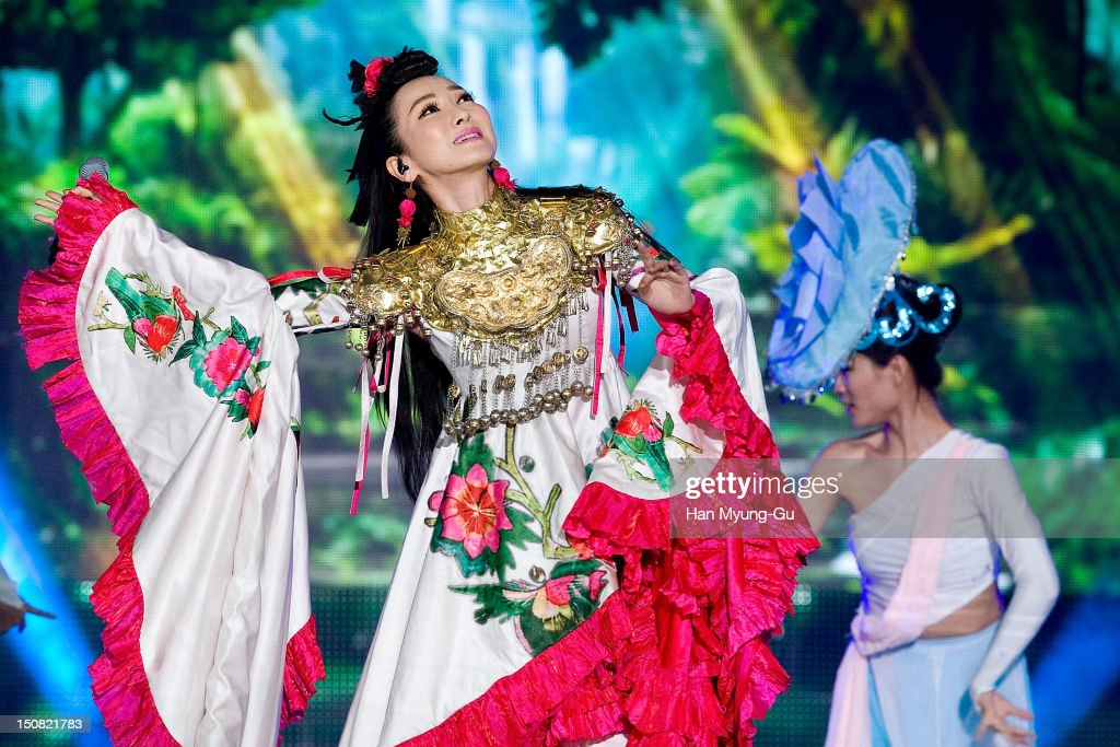 Singer Sa Ding Ding from China performs onstage during the KBS Korea-China Music Festival on August 25, 2012 in Yeosu, South Korea.
