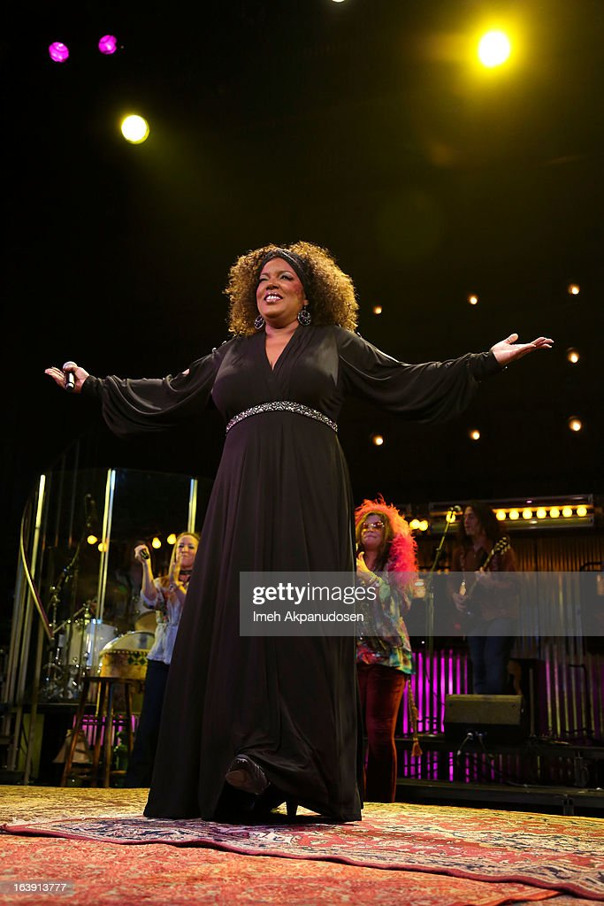 Singer Sabrina Elayne Carten, as Blues Singer, performs onstage during the opening night of 'One Night With Janis Joplin' at Pasadena Playhouse on March 17, 2013 in Pasadena, California.