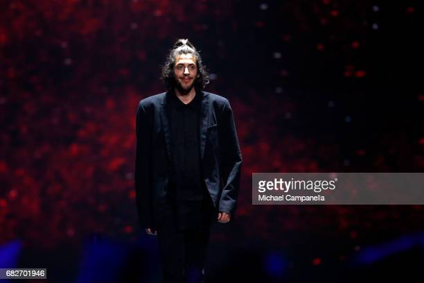Singer Salvador Sobral representing Portugal is seen on stage during the final of the 62nd Eurovision Song Contest at International Exhibition Centre...
