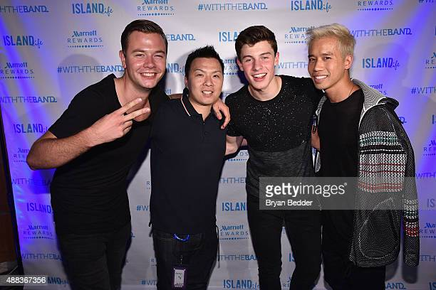 Singer Sam Feldt of Island Records EVP/GM of Island Records Eric Wong singer Shawn Mendes of Island Records and Founder/CEO of JustJared Jared Eng...
