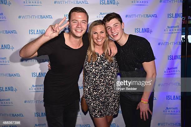Singer Sam Feldt of Island Records Vice President Buzz Marketing and Partnerships at Marriott International Inc Jennifer Utz and singer Shawn Mendes...
