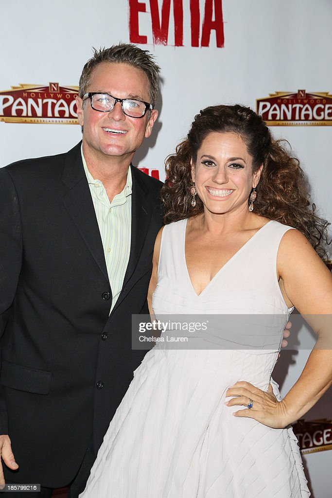 Singer Sam Harris (L) and actress Marissa Jaret Winokur arrive at the opening night red carpet for 'Evita' at the Pantages Theatre on October 24, 2013 in Hollywood, California.