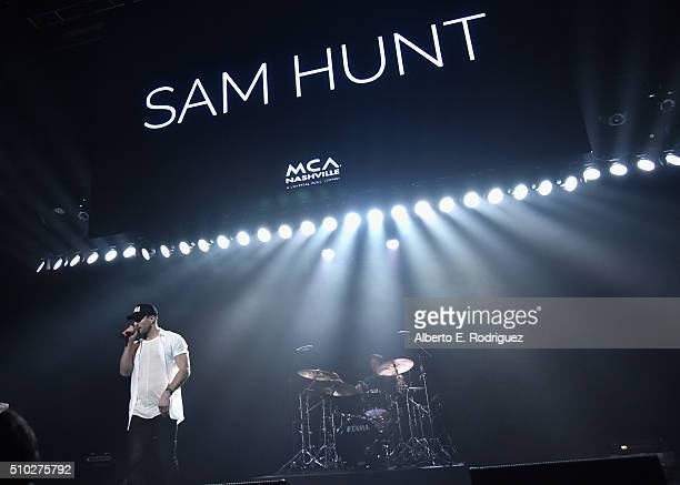Singer Sam Hunt performs onstage during Lucian Grainge's 2016 Artist Showcase Presented by American Airlines and Citi at The Theatre at Ace Hotel...