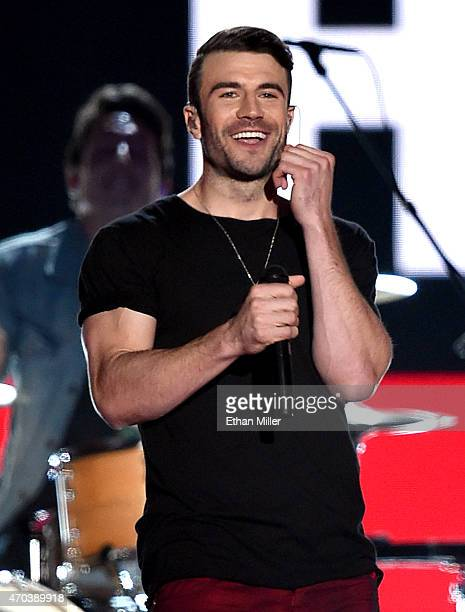 Singer Sam Hunt performs onstage during the 50th Academy of Country Music Awards at ATT Stadium on April 19 2015 in Arlington Texas