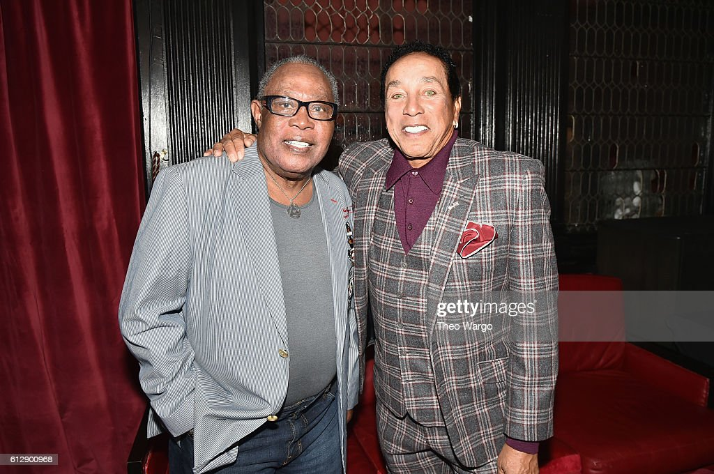 Singer Sam Moore (L) and singer-songwriter Smokey Robinson attend Little Kids Rock Benefit 2016 at Capitale on October 5, 2016 in New York City.