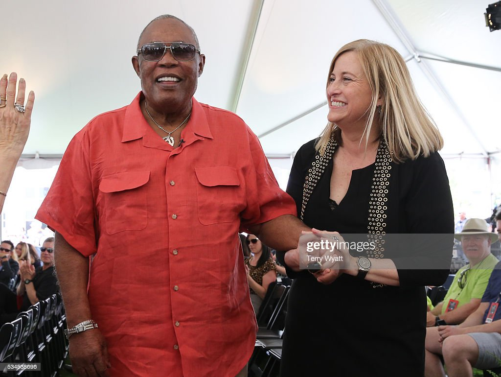 Singer <a gi-track='captionPersonalityLinkClicked' href=/galleries/search?phrase=Sam+Moore&family=editorial&specificpeople=828179 ng-click='$event.stopPropagation()'>Sam Moore</a> is joined by Nashville Mayor Megan Barry during the 2016 Music City Walk Of Fame Induction Ceremony at Nashville Music City Walk of Fame Park on May 26, 2016 in Nashville, Tennessee.