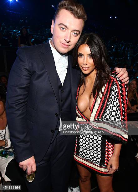Singer Sam Smith and TV personality Kim Kardashian attend the 2014 MTV Video Music Awards at The Forum on August 24 2014 in Inglewood California