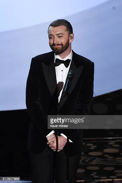Singer Sam Smith performs onstage during the 88th Annual Academy Awards at the Dolby Theatre on February 28 2016 in Hollywood California