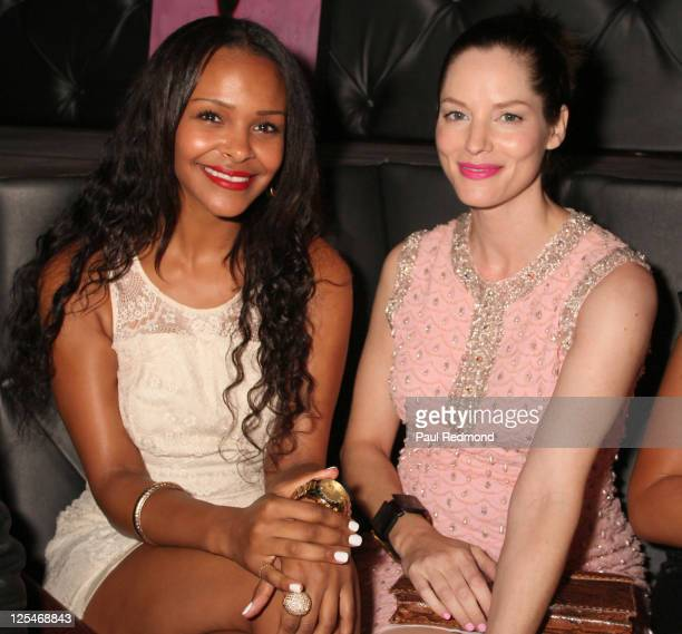 Singer Samantha Mumba and actress Sienna Guillory arrives at The Breast Cancer Of America Charities Fashion Show And Fundraiser on October 13 2010 in...