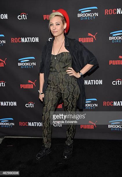 Singer Samantha Urbani arrives at the Roc Nation Grammy Brunch 2015 on February 7 2015 in Beverly Hills California