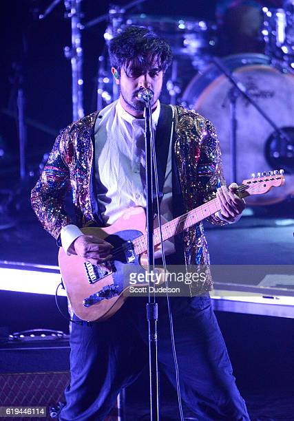 Singer Sameer Gadhia of the band Young the Giant performs onstage during the final show at Irvine Meadows Amphitheatre on October 30 2016 in Irvine...