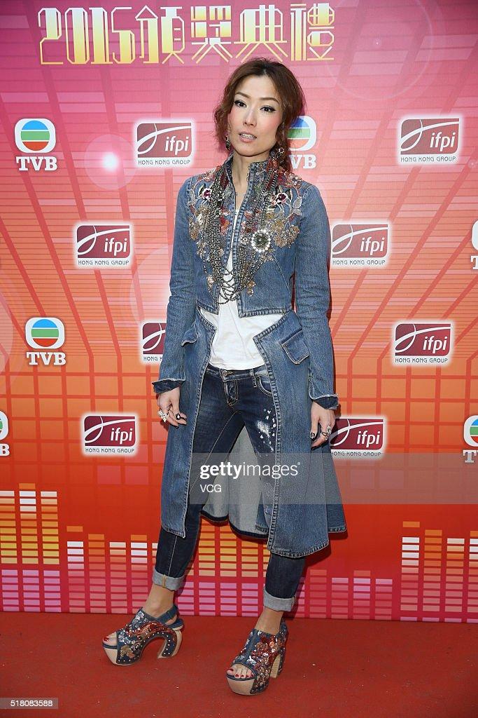Singer Sammi Cheng attends the recording of IFPI Hong Kong Music Top Sales Awards 2015 on March 29 2016 in Hong Kong China