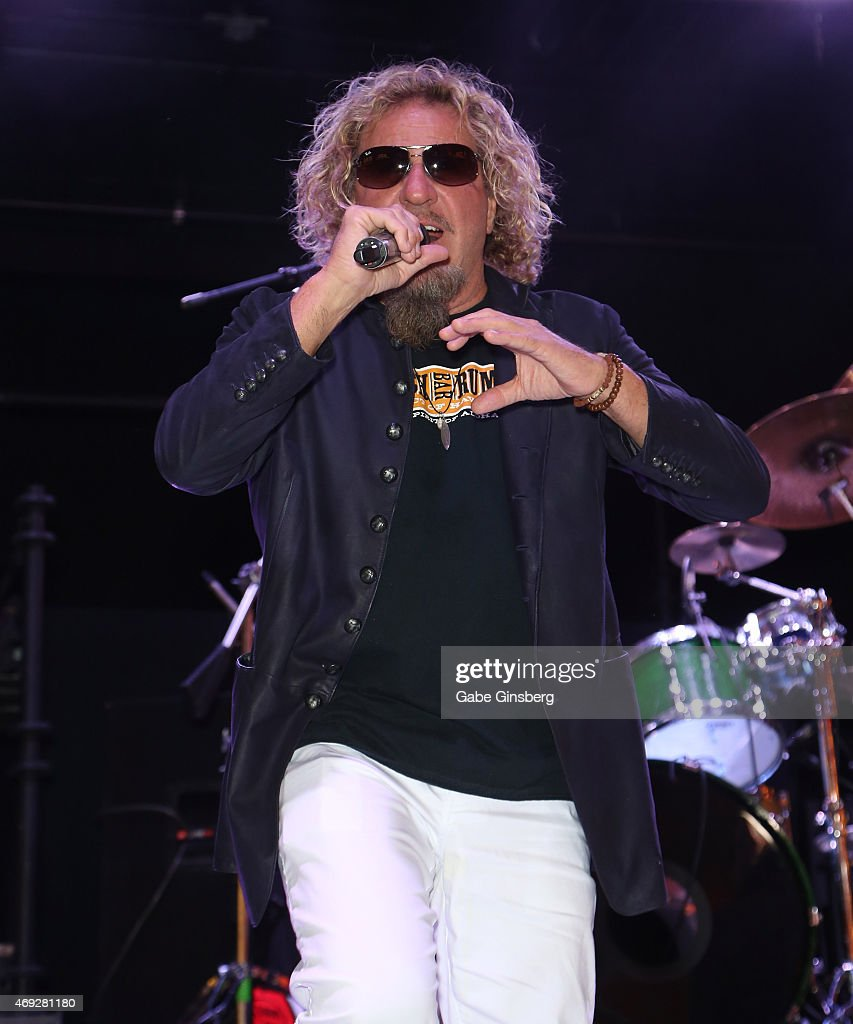 Singer Sammy Hagar of Sammy Hagar & The Circle performs on stage during an album release party for 'At Your Service' at the Fremont Street Experience on April 10, 2015 in Las Vegas, Nevada.