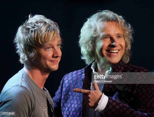 Singer Samu Haber of the Finnish band Sunrise Avenue and TV host Thomas Gottschalk attend the live broadcast of German TV show 'Wetten dass' October...